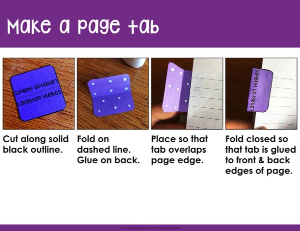 steps to making a page tab for interactive notebook: cut, fold, glue, attach to page edge