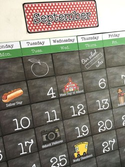 Classroom wall calendar for September in chalkboard, red, and green