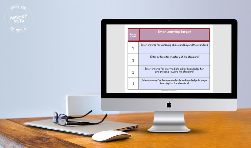 Editable template for learning scales poster on computer screen