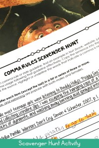 Comma rules scavenger hunt worksheet with picture book on desk