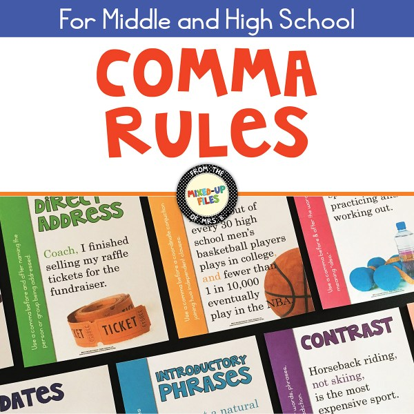 Comma Rules posters from Mixed-Up Files