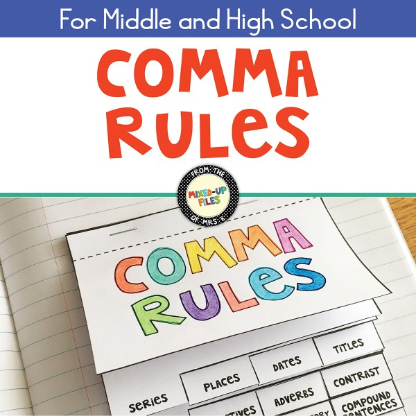 Comma Rules interactive notebook flip book from Mixed-Up Files