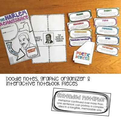 Doodle notes, graphic organizer, and interactive notebook pieces for Langston Hughes and the Harlem Renaissance