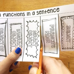 Parts of speech foldable for noun functions in a sentence