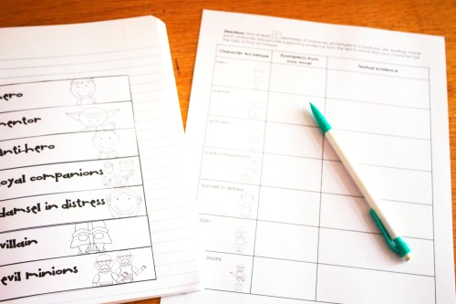 Character Archetypes graphic organizer