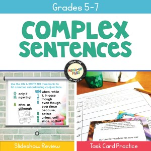 Writing Complex Sentences slideshow review and task card practice