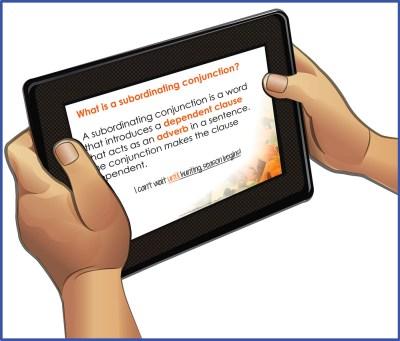 Complex sentences slideshow displayed on tablet