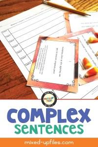 Complex sentences slideshow and task card set