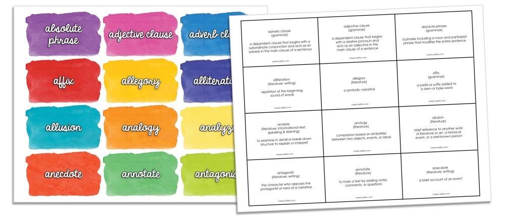 sample front and back pages of vocabulary game cards