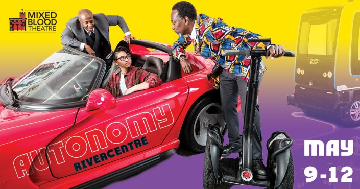 """men leaning over young person in car, the word :autonomy"""" on side of car"""