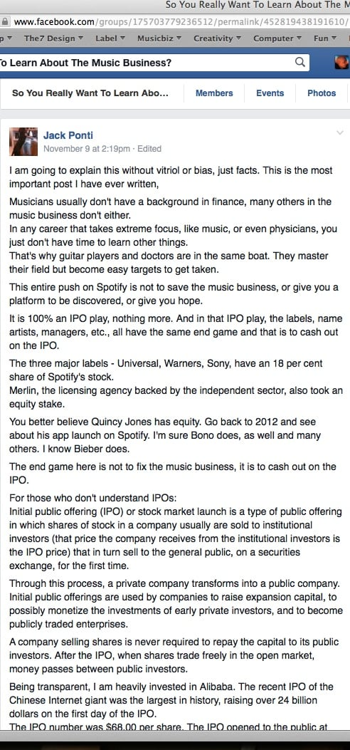 Jack Ponti Spotify IPO Bono Justin Bieber Quincy Jones Facebook Group Music Business