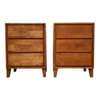American Modern Conant Ball Nightstands - A Pair - Mixed ...