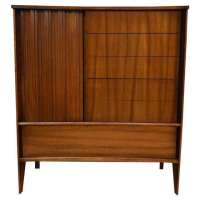 Mid-Century Curved Front Walnut Dresser - Mixed Modern ...