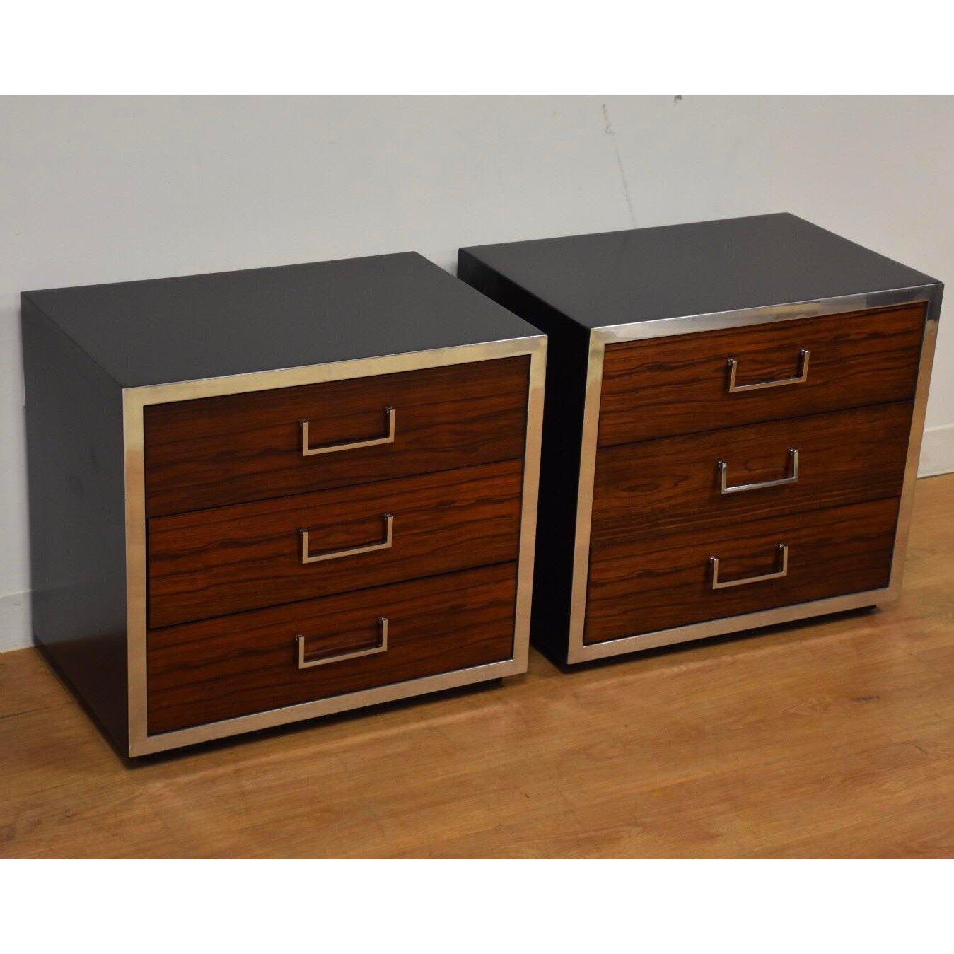 Rosewood Chrome And Black Lacquer Nightstands A Pair