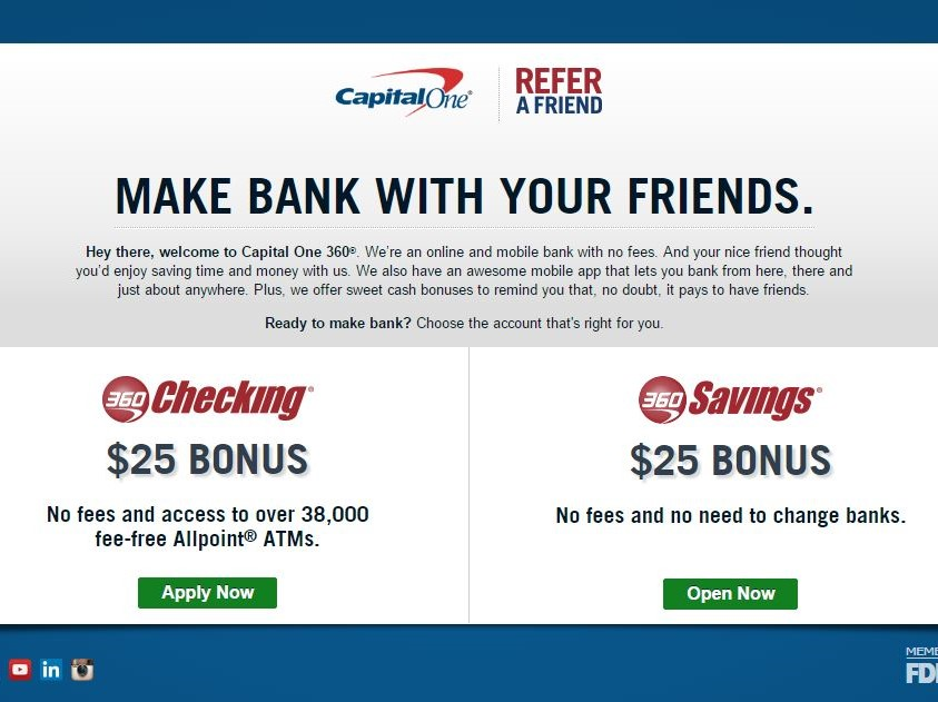 Capital One 360 Refer a Friend ($25 Account Opening Bonus)