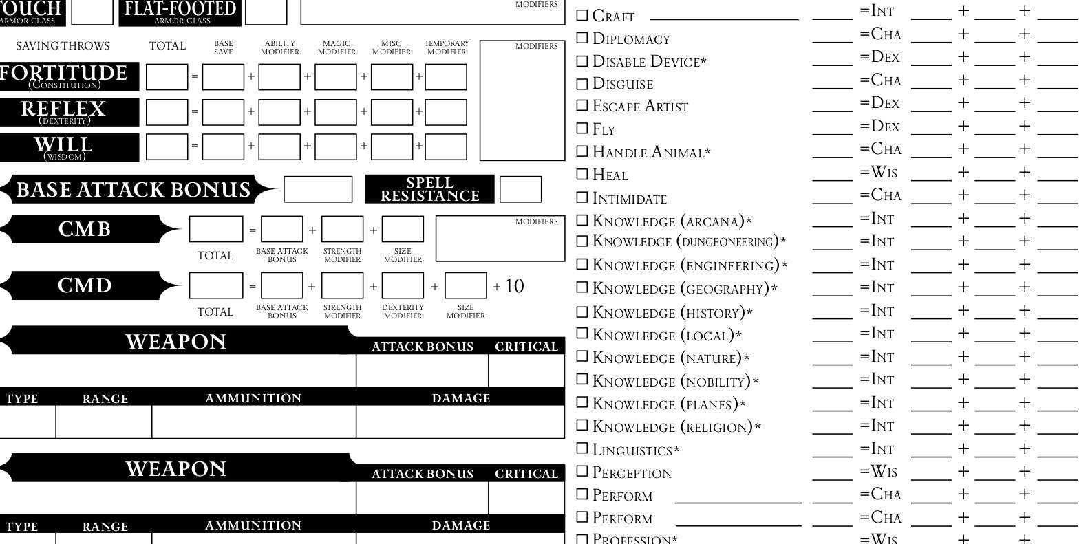 Pathfinder Printable Spell List That Are Agile