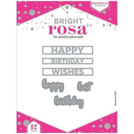 Bright Rosa - Birthday Words Dies