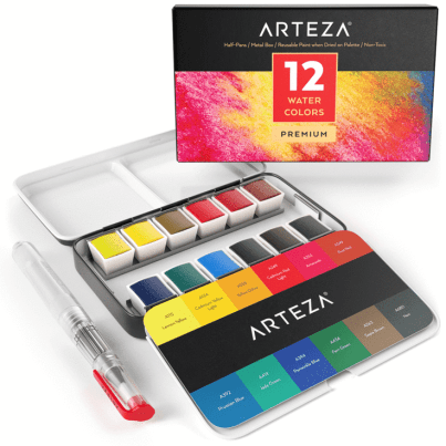 Arteza 12 Half Pan Watercolour Paints
