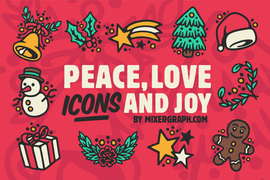 Peace love icons joy Christmas Illustrations