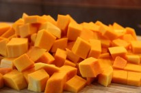 October - making Butternut Squash soup.
