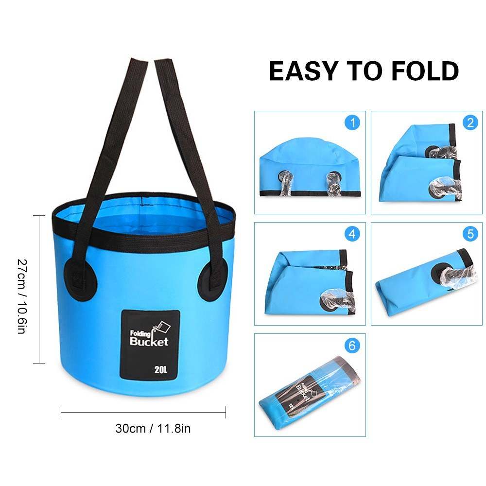 Camping Shower With Folding Bucket