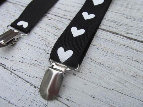 Zwarte bretels met hartjes