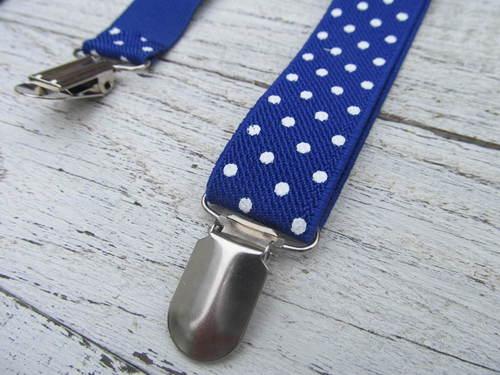 Donkerblauwe bretels met stippen