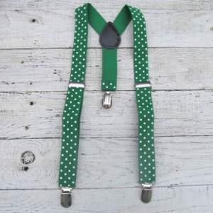 Groene bretels met stippen