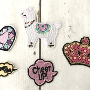 strijkapplicaties voor meisje alpaca lama kroon hartje