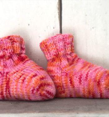 Roze multicolor babyslofjes