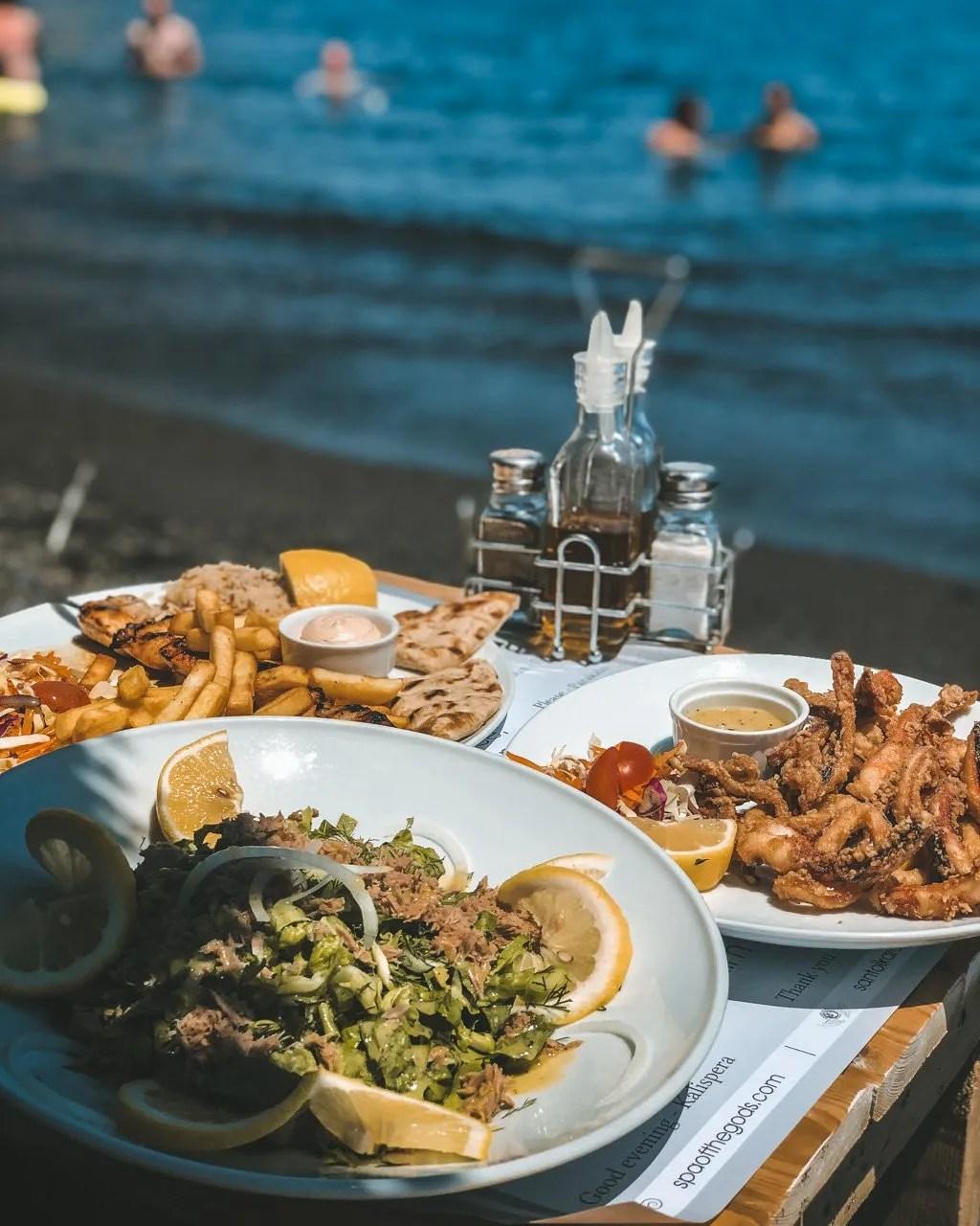 Food in Santorini, Santorini beachclub, Santorini beaches