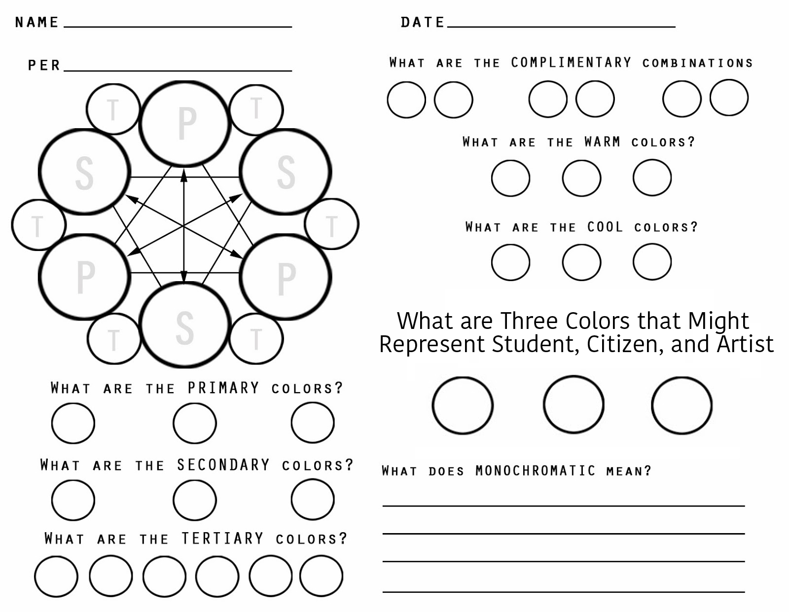 Color Theory Worksheet And Study Guide Answers