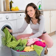 Woman taking out the laundry