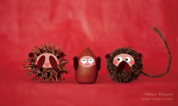 三猿(左からモミジバフウ・マテバシイ・フウの実) 2016.1.5
