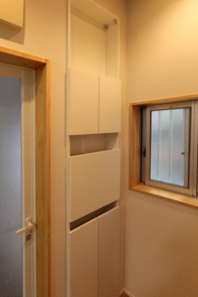 洗面リフォーム 壁厚収納