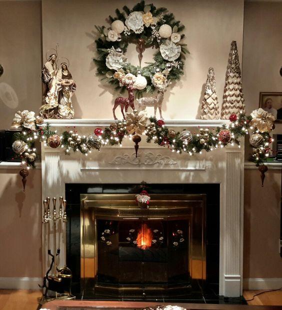 как украсить камин на новый год