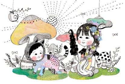 線画 女の子 猫 カラフル