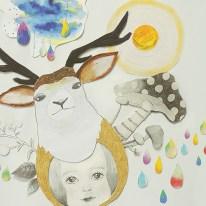 鹿 ガール きのこ カラフル イラスト