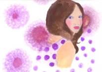 女性 花柄 水玉