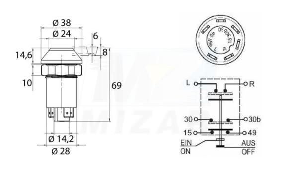 Włącznik przedniego napędu MF Deutz Same 6 pin 0.007.5945