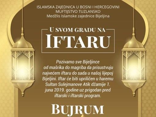 Veliki iftar u haremu Sultan Suljmanov Atik džamije u Bijeljini