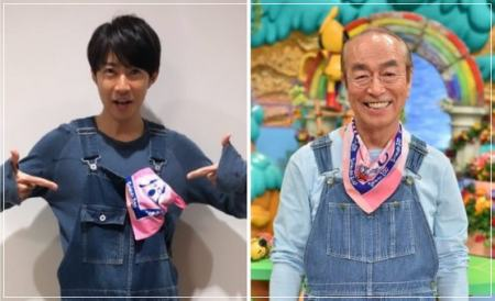 相葉雅紀と志村けんの志村どうぶつ園衣装を着た笑顔の写真