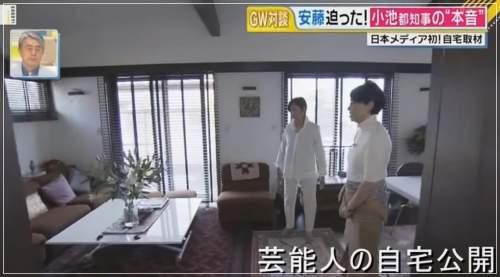 小池百合子都知事の自宅エコだハウスのリビングルーム画像