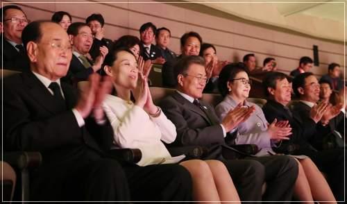 金正恩党委員長と韓国の文在寅大統領と一緒にオリンピックを観戦する金与正氏