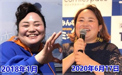 コロナ自粛中に28キロ痩せたおかずクラブのゆいPの自粛前と自粛後の比較画像