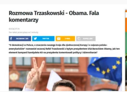 Trzaskowski rozmawiał wczoraj z Obamą. Robi się niebezpiecznie.