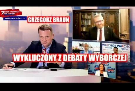 CENZURA! Grzegorz Braun WYKLUCZONY z DEBATY wyborczej RADIA ZET _ Rzeszów 2021