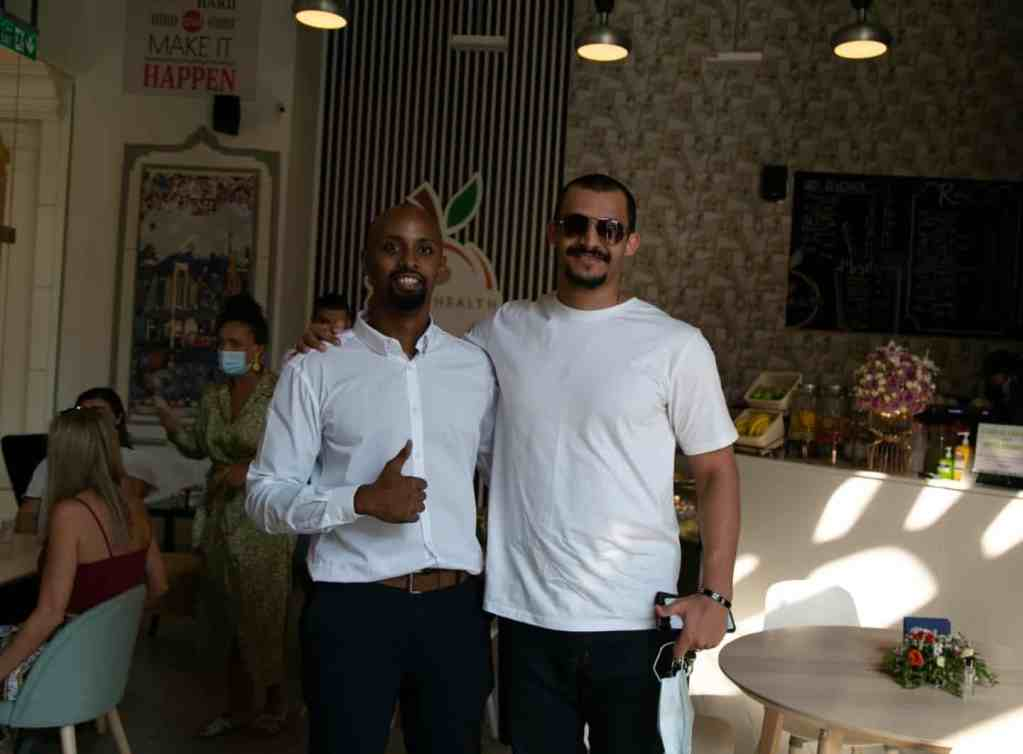 raw health cafe opening vip guest Mizo Amin with Ahmed Essam