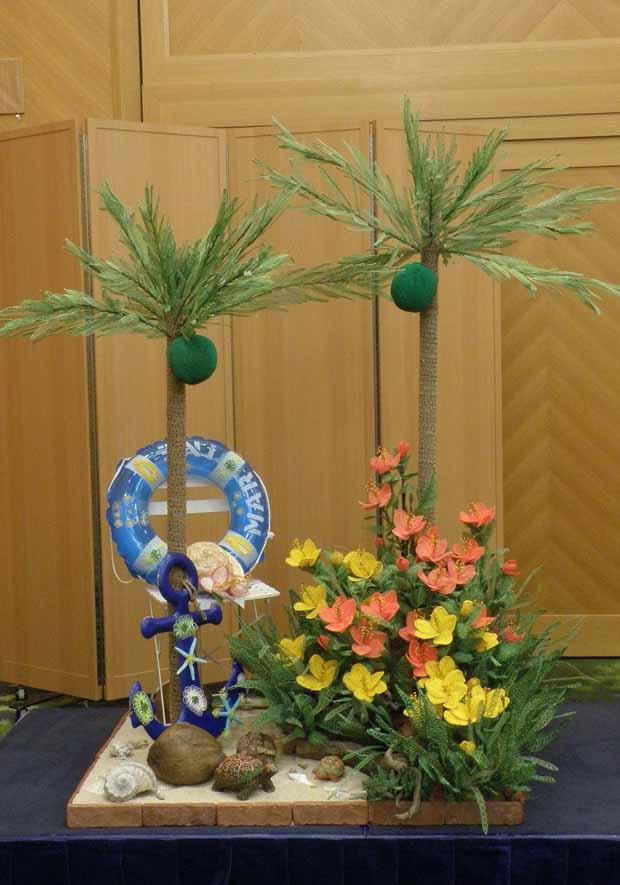 水引アート講師 荒田 晃華 作 ヤシ・ハイビスカス・カメ 「夏が来た!!夏夏夏夏ココナッツ」 写真