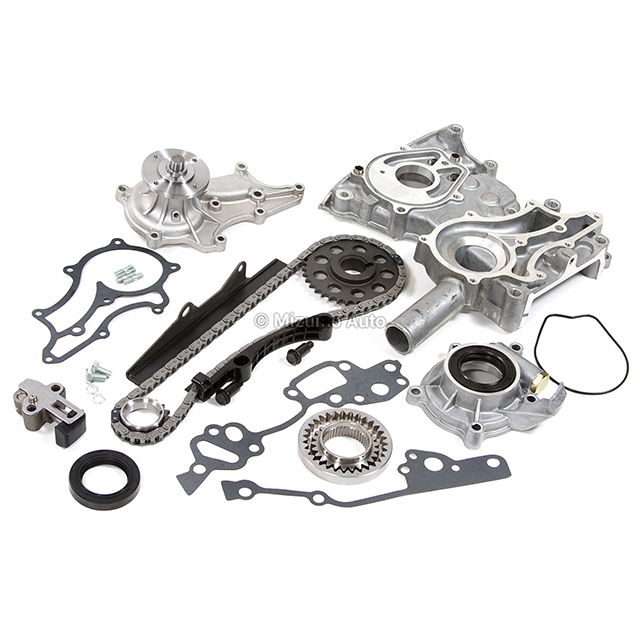 Timing Chain Kit Cover w/ Steel Rail Oil Water Pump Fit